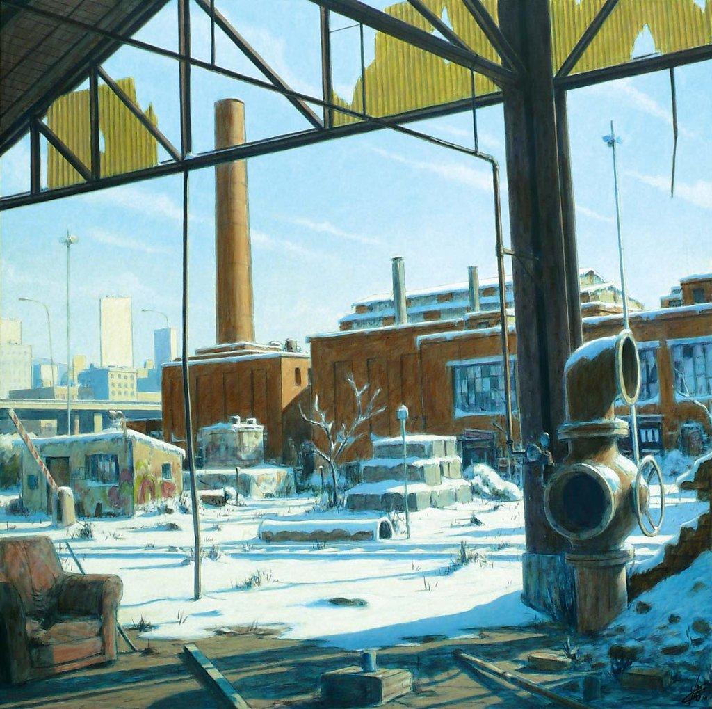 Usine sous la neige 120X120 2010