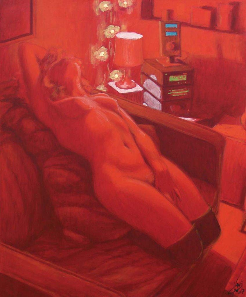 Nu à la lampe rouge 65X54 2007