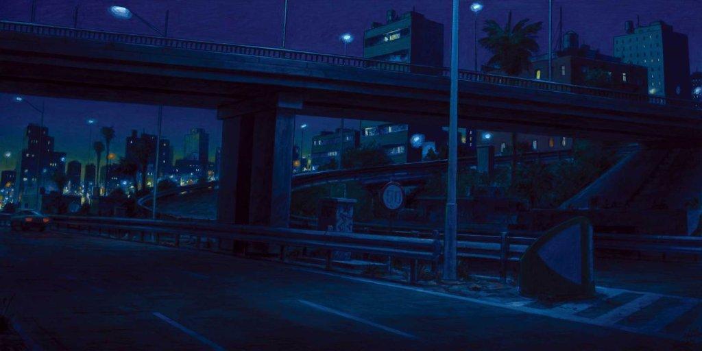 """Panoramique urbain bleu"" 60X120 - 2017"