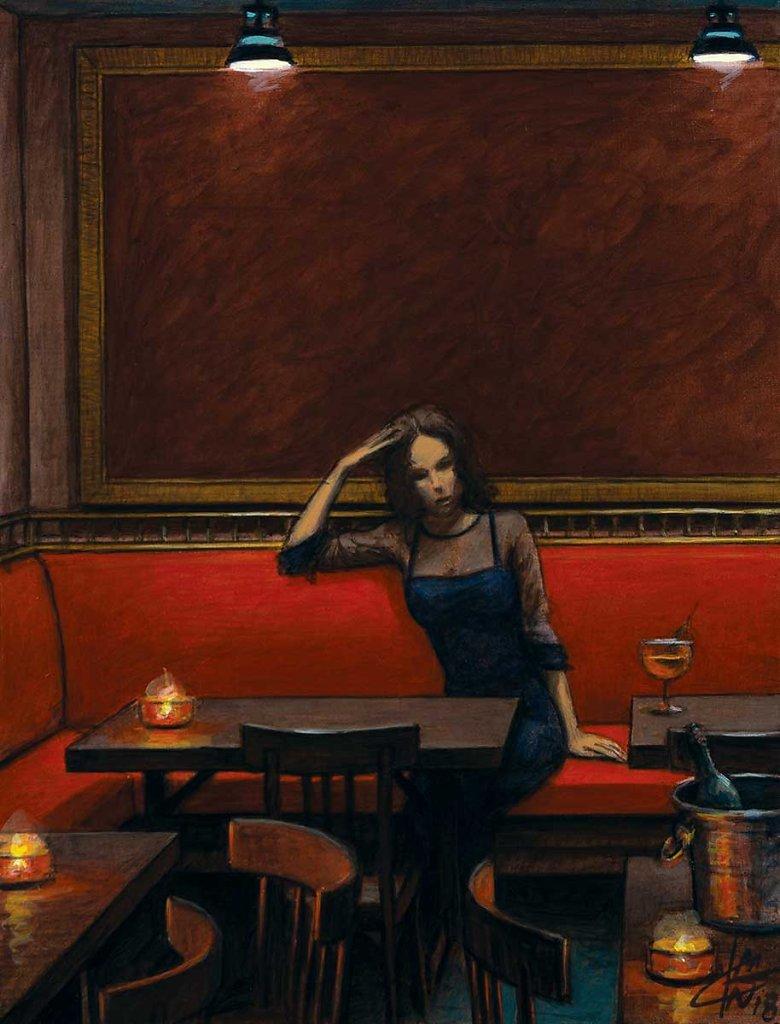 """""""Fille à la banquette rouge"""" 35X27 - 2018"""